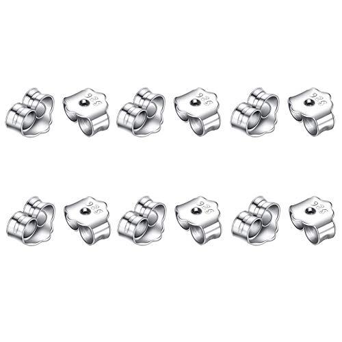 Yuccer Ohrring Rücken Stopper Earring Backs 925er Sterling Silber Schmetterling Ohrring Rücken für Ohrstecker (12 Stücke)