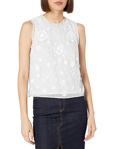 French Connection Women's Dalia Sheer Top, Summer White/Summer White, 2