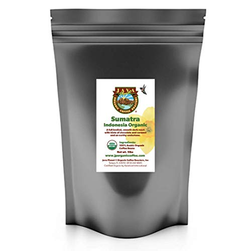 Java Planet, Organic Coffee Beans, Sumatra Indonesia Single Origin, Low Acid, Gourmet Dark Roast of Arabica Whole Bean Coffee, Certified Organic and Fair Trade, Grown at High Altitudes One 5LB Bag