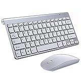 VONKY Teclado inalámbrico 2.4G Mini Teclado Multimedia Conjunto de Conjunto para el Ordenador portátil de Escritorio de Oficina PC TV Suministros, Plata