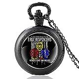 JTWMY Heroes Live Among Us Police, Fire, EMS Reloj de Bolsillo de Cuarzo Vintage Collar con Colgante de cúpula de Cristal Reloj de Horas-Negro