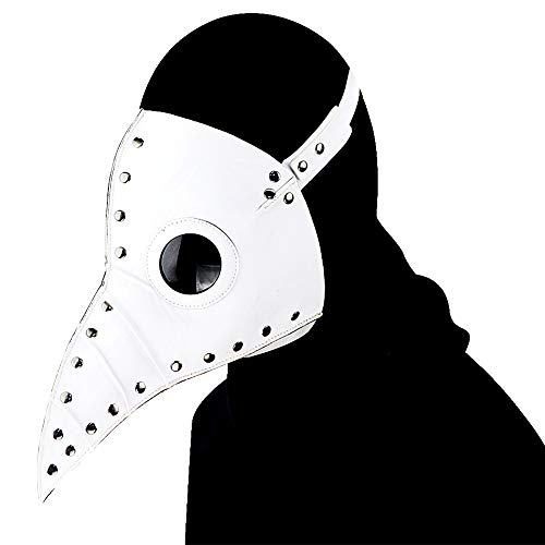 duduta Leather Plague Doctor Mask Steampunk Bird Mask Long Beak Renaissance Halloween Costume Mask White