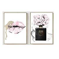 ピンク唇プリントファッション香水ポスター口紅メイクアップ壁アートパネル絵画インテリアヴォーグメイクアップポスター北欧花壁写真ホーム装飾40x60cmx2いいえフレーム