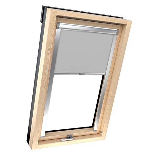 4dekor Dachrollos Für Velux Dachfenster Thermo Dachfensterrollo 100% Verdunklung Sonnenschutz Silbergehäuse (P06/406, Grau)