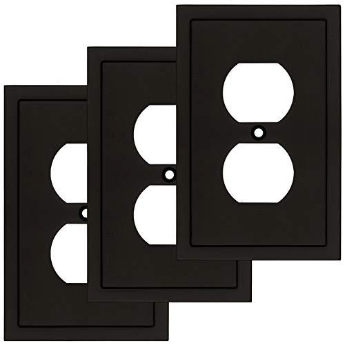 Moderno borde decorativo placa de pared para interruptor de placa de pared, duradera aleación de zinc sólido (dúplex único 3PK, negro mate)
