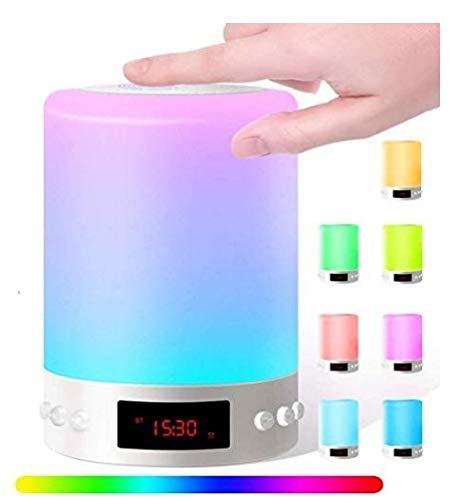 Bluetooth Lautsprecher Lampe, 6in1 Nachttischlampe mit Lautsprecher USB Wiederaufladbar Touchlampe mit 12/24H Digital Wecker, Mit Haken, Stimmungslicht, Freisprechen, MP3-Player, Für Mädchen Kinder