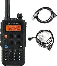 Pofung UV52X Long Range Walkie Talkie 5W Dual Band VHF/UHF 144-148MHz/420-450MHz Handheld Transceiver Rechargerable 2 Way Radio w/Free Cable, Black