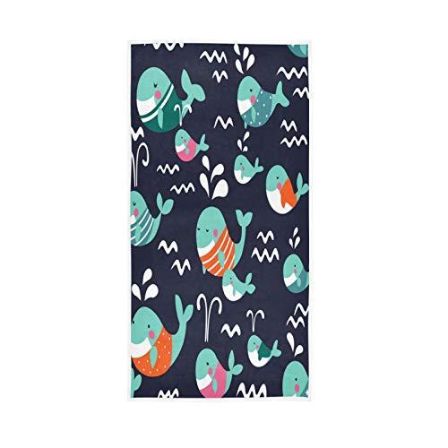 PIXIUXIU - Toallas de mano de secado rápido con patrón de ballena y chevrón absorbentes, suaves, gruesas, absorbentes, para uso diario, 76 x 15 pulgadas