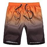 Pantalones Cortos de Playa para Hombre Traje de baño Bañador de Verano Gradiente Ropa Deportiva Informal Yellow L