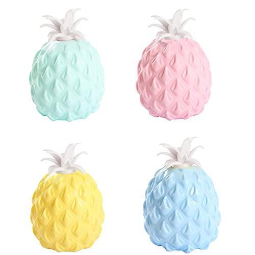 Balle Anti-Stress Ananas Jouets de Décompression de Fruits de Simulation Ananas Antistress Fidget Toys Balle Anti-Stress Extensible Agiter Jouets Balles Anti-Stress pour Enfants et Adultes 4 Pièces