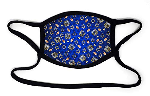 Buttonsmith Hanukkah Adult Adjustable Face Mask with Built-in Lanyard - Made in The USA - Quantity 1 - Two Layer Soft US-Made Material - Washable -