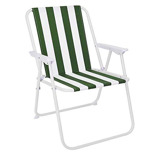 FineHome Luxus Campingstuhl Faltstuhl Grün-Weiß gestreift Klappstuhl Anglerstuhl Angelstuhl