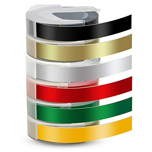 Pristar 9mm Compatible Label Tape Replace for Dymo 3D Embossing Self-Adhesive for Dymo Omega Embossing Junior Organizer Xpress Pro Motex E, White on Black/Gold/Silver/Red/Green/Yellow