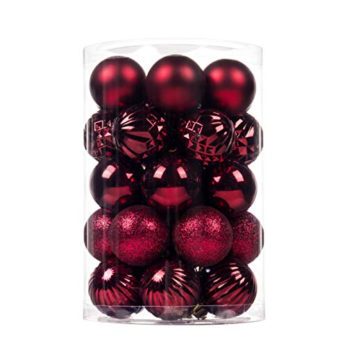 """SY CRAFT 34Ct Christmas Ball Ornaments for Xmas Tree Shatterproof Christmas Decorations Hanging Ball Small for Holiday Party Decoration,Tree Ornaments 1.6""""(40mm Wine Red)"""