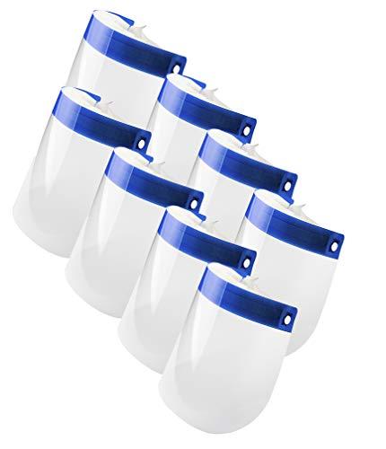 QBK Pack Pantallas Protección Facial Transparente | 8 UNIDADES | Protector Facial con Esponja Suave, Visera Protección Facial. Material PET resistente, con banda elástica Talla única