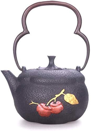 BANANAJOY Tetera, Botella juegos de té de té Ollas de hierro fundido tetera de té ollas de hierro de la tetera de hierro fundido olla de hierro fundido Caldera Caldera manual sin recubrimiento de hier