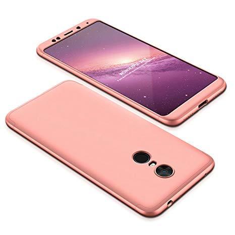 BCIT Xiaomi Redmi 5 Plus Funda Funda Xiaomi Redmi 5 Plus 360 Grados Integral para Ambas Caras + Cristal Templado, Luxury 3 in 1 PC Hard Skin Carcasa Case Cover para Xiaomi Redmi 5 Plus (Rose Oro)
