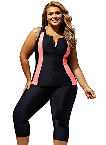 ZKESS Womens Plus Size Zipper Rash Guard Surfing Swimsuits Sleeveless Color Block Swim Tank Tops Capri Legging Pant Swims Bottom 2PCS Bathing Suits Wet Set Black XL