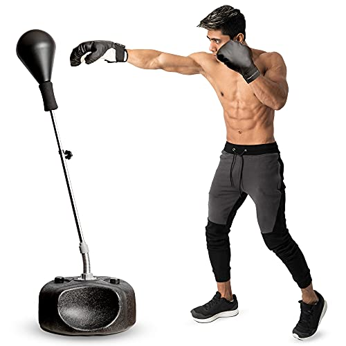 Protocol Punching Bag with Stand - for Adults & Kids - Punching Bag with Stand Plus Boxing Gloves - Adjustable Height Stand - Great for Exercise and Fitness Fun for The Entire Family , Black