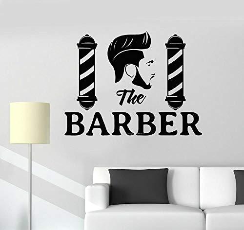 wopiaol Herren Friseursalon Logo Wandtattoo PVC Wallpaper Barber Shop Zubehör Abnehmbares Wandbild 75x56cm
