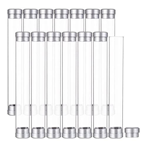 BENECREAT 16 piezas transparente cilindro tubo pluma casos doble cabeza pluma tubo bolígrafo claro caso titular para la escuela oficina suministros