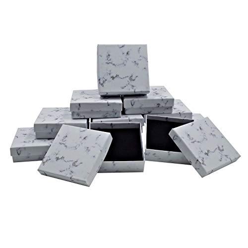 ZERONOWA アクセサリー ギフトボックス 大理石風 ラッピングボックス ジュエリー プレゼント (9�p×9�p×3�p(12個セット))