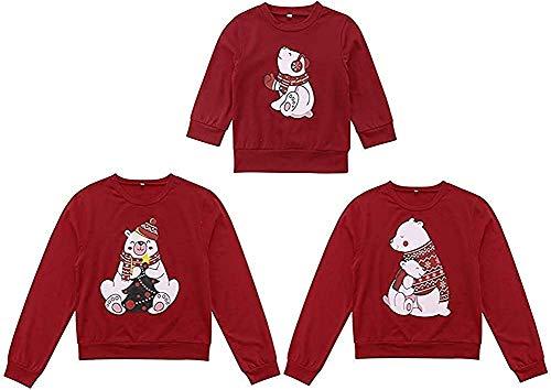 Loalirando Natale Felpe Famiglia Maglia a Manica Lunga Stampa Cuore Top Girocollo Felpa Senza Cappuccio Invernale