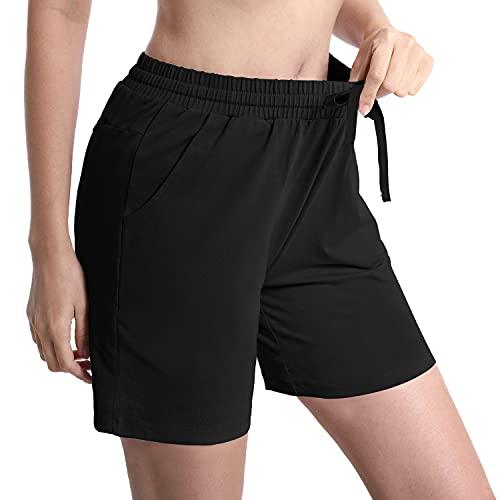 HISKYWIN 5'/ 7' Inseam Length Women's Active Lounge Bermuda Shorts Yoga Jogger Shorts Zip Pockets F18016-Black-S