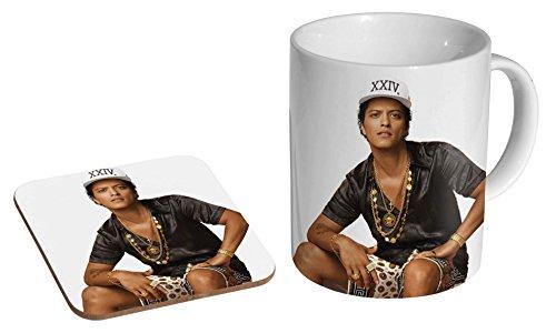 Bruno Mars Gold Keramik Kaffeetasse + Untersetzer Geschenkset