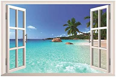 Fabulous D cor Peaceful Exotic Beach 3D Window View Wall Art Premium Vinyl Decal Sticker 23 product image