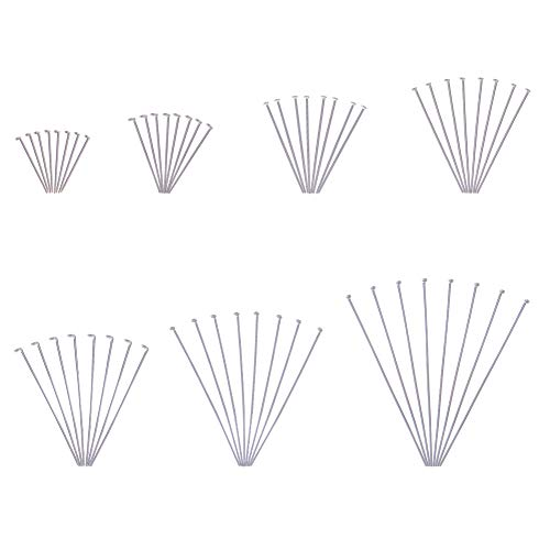 PandaHall Elite About 700 Pcs 304 Stainless Steel Head Pins Findings 7 Styles Eye Pin 3/5 2 Inch Length 23 Gauge for Jewelry Making