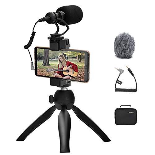 Smartphone Video Kit CVM-VM10-K2 Shotgun Video Mikrofon mit Stoßdämpferhalterung und Mini Stativ für iPhone/Huawei/Samsung Android Telefon Vlogging Rig Kit für Filmaufnahmen/YouTube Aufnahmen