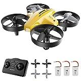ATOYX Mini Drone, AT-66C RC Drone Niños 3D Flips, Modo sin Cabeza, Estabilización de Altitud, 3 Modos de Velocidad, 4 Canales 6-Ejes, 3 Baterías, Regalo para Niños y Principiantes (Amarillo)