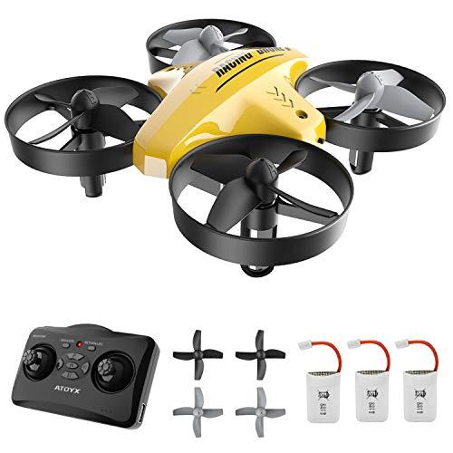 ATOYX Mini Drone, AT-66C RC Drone Niños 3D Flips, Modo sin Cabeza, Estabilización de Altitud, 3 Modos de Velocidad, 4 Canales 6-Ejes, 2 Baterías, Regalo para Niños y Principiantes (Amarillo)
