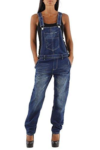 si moda Damen Jeans Hose Baggy Boyfriend Latzhose Latzjeans Jumpsuit Overall Hüftjeans, Hosengröße:38