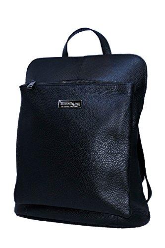 BORDERLINE - 100% Made in Italy - Echtes Leder Frauen Rucksack - BEATRICE (Schwarz)