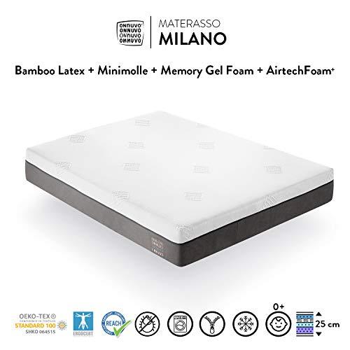 OnNuvo Materasso New Gel Memory Foam Alta Densità 60-65 kg/m3, Lattice Bamboo Naturale 70-75 kg/m3, Micro Molle INDIPENDENTI, 7 Zone, h 25 cm, Antidecubito Ortopedico Sfoderabile (140x200x25) Milano