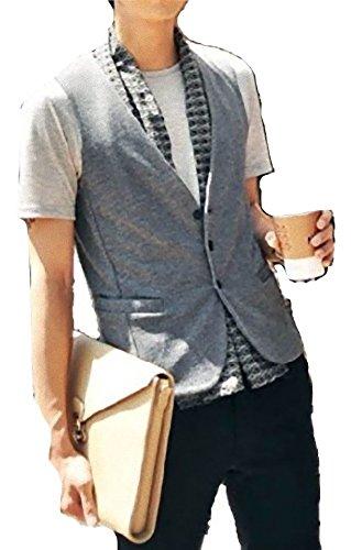 メンズ ベスト ソフト ウエストライン スリムフィット シンプル デザイン サロン系 カジュアル フォーマル 普段使い きれいめ (Nail39) (グレー 、L)