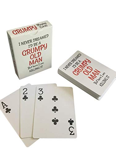 Grumpy Old Man Jumbo Index Playing Cards - Large Print for Seniors - Gag Present for 50th 60th 70th 75th 80th Birthday - Poker Sized for Texas Holdem, Bridge, Euchre, War - Men Novelty