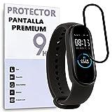 REY Protector de Pantalla Curvo para XIAOMI MI Smart Band 5 - MI Smart Band 6, Negro, Premium, 3D / 4D / 5D, Anti Roturas
