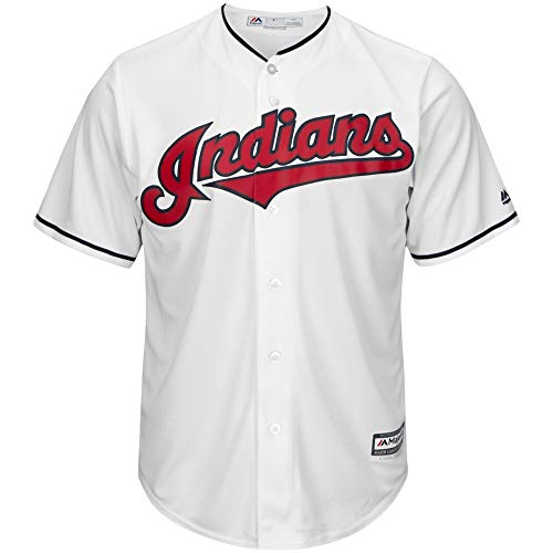 Majestic Francisco Lindor Cleveland Indians CoolBase White Home Replica Jersey (2XL)