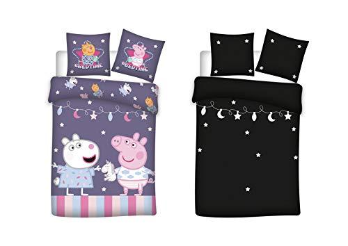 Peppa Pig - Juego de ropa de cama para bebé (2 piezas, 100% algodón, 100 x 135 cm, 40 x 60 cm), diseño de Peppa Pig