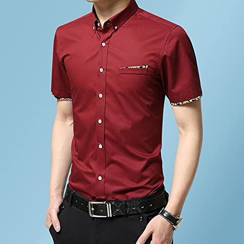 WQDS Camisa para Hombre Camisa de Manga Corta de Color sólido de Manga Corta de Manga Corta para hombre-2730 Vino_Metro