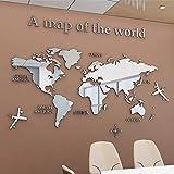 Mapa Del Mundo 3D Cristal Tridimensional Pegatinas De Pared Oficina Estudio Sala De Estar Sofá Fondo Tatuajes de Pared Decoración de Pared (M-120 * 60cm, Plata)