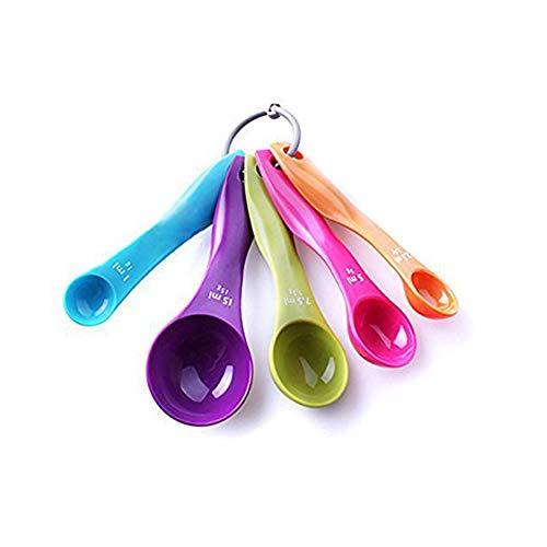 Haodou 5 Stücke Messlöffel Set Messlöffel Küche Kochen Utensil Werkzeug Kunststoff Geschirr Trockene und Flüssige Zutaten Löffel 1 Satz-Multicolor