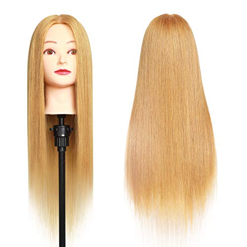 Mannequin Head MEIBR 100% Real Hair Styling Training Head 24-27inch Manikin Cosmetology Hairdressing Doll Head With Free Clamp Female+Braid Set (27#)