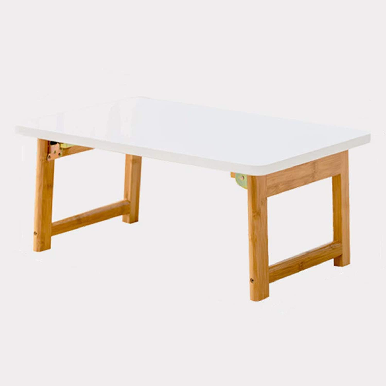 Folding Table Bamboo Wood Bay Window Small Coffee Table Laptop Table Dormitory Study Table White