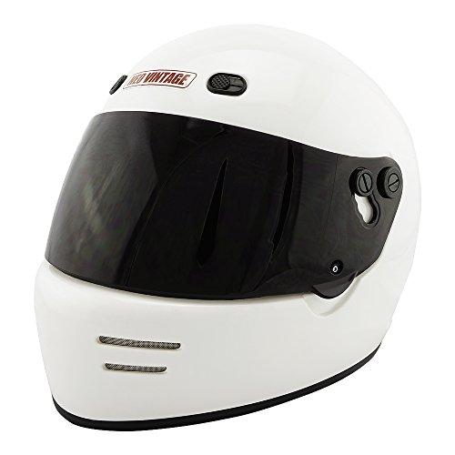 NEO VINTAGE ドラッガースタイル フルフェイス SG規格品 ステッカー付 [ホワイト×ダークスモークシールド 白 Lサイズ:59-60cm対応] VT-6 バイクヘルメット