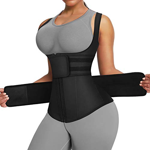 FeelinGirl Black Latex Underbust Waist Trainer Sport Workout Corset Vest S