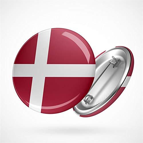 Hellweg Druckerei Button Anstecker Denmark Dänemark Flagge Europa Flag Badge Abzeichen Pin
